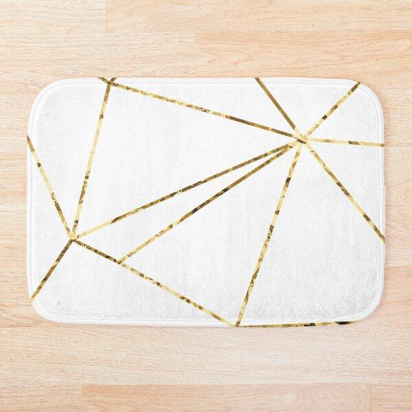 Gold Lines Polygonal minimalist White Bath Mat