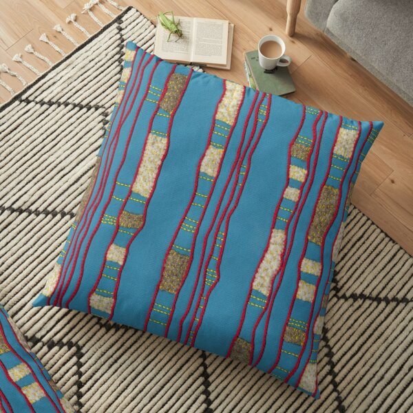 Layered on blue Floor Pillow