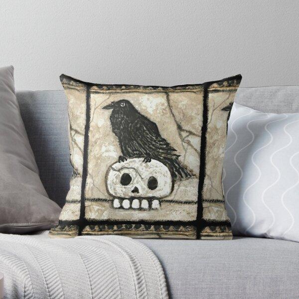 Black Raven Skull Edgar Allen Poe Stone Look Gothic  Throw Pillow