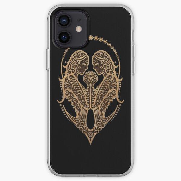 Signe zodiaque rustique Gemini sur fond noir Coque souple iPhone
