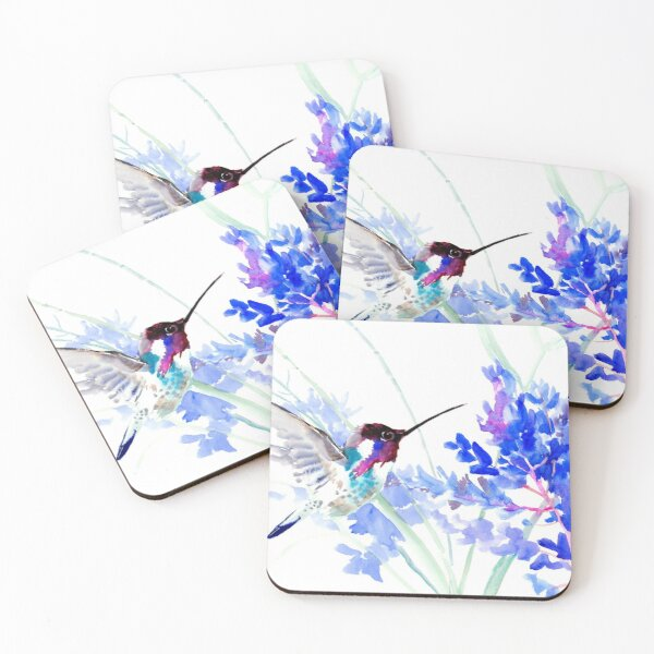 Flying Hummingbird anf Blue Flowers Coasters (Set of 4)