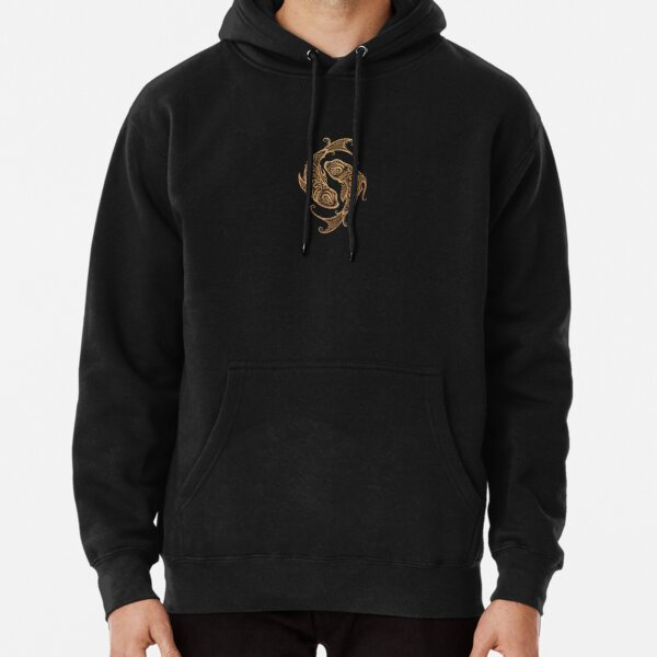 Rustic Pisces Zodiac Sign on Black Pullover Hoodie