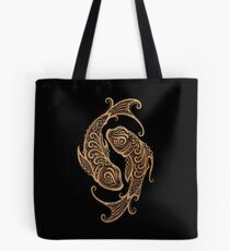 Rustic Pisces Zodiac Sign on Black Tote Bag
