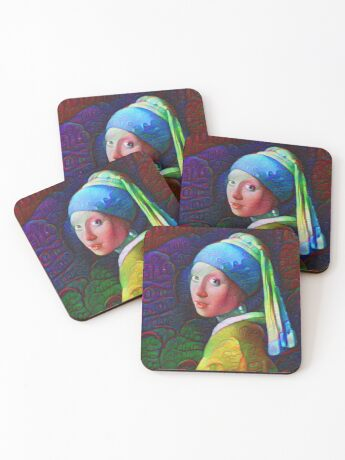 """DeepDreamed """"Girl with a Pearl Earring"""" Coasters"""