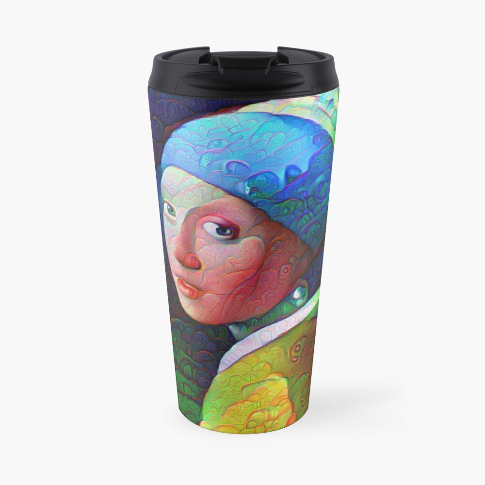 "DeepDreamed ""Girl with a Pearl Earring"" Travel Mug"