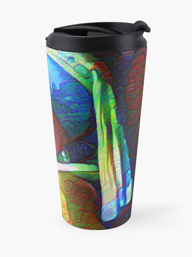 "Alternate view of DeepDreamed ""Girl with a Pearl Earring"" Travel Mug"