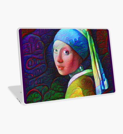 "DeepDreamed ""Girl with a Pearl Earring"" Laptop Skin"