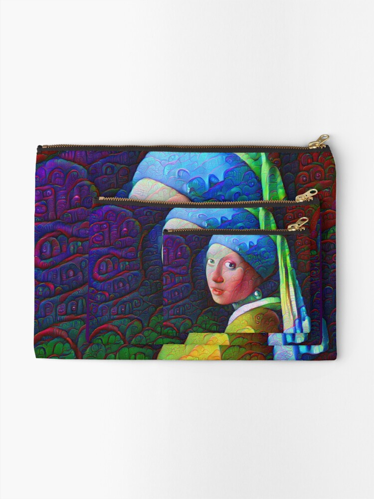 """Alternate view of DeepDreamed """"Girl with a Pearl Earring"""" Zipper Pouch"""