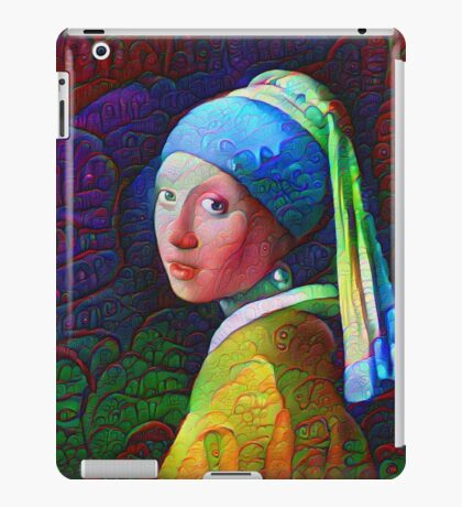 """DeepDreamed """"Girl with a Pearl Earring"""" iPad Case/Skin"""