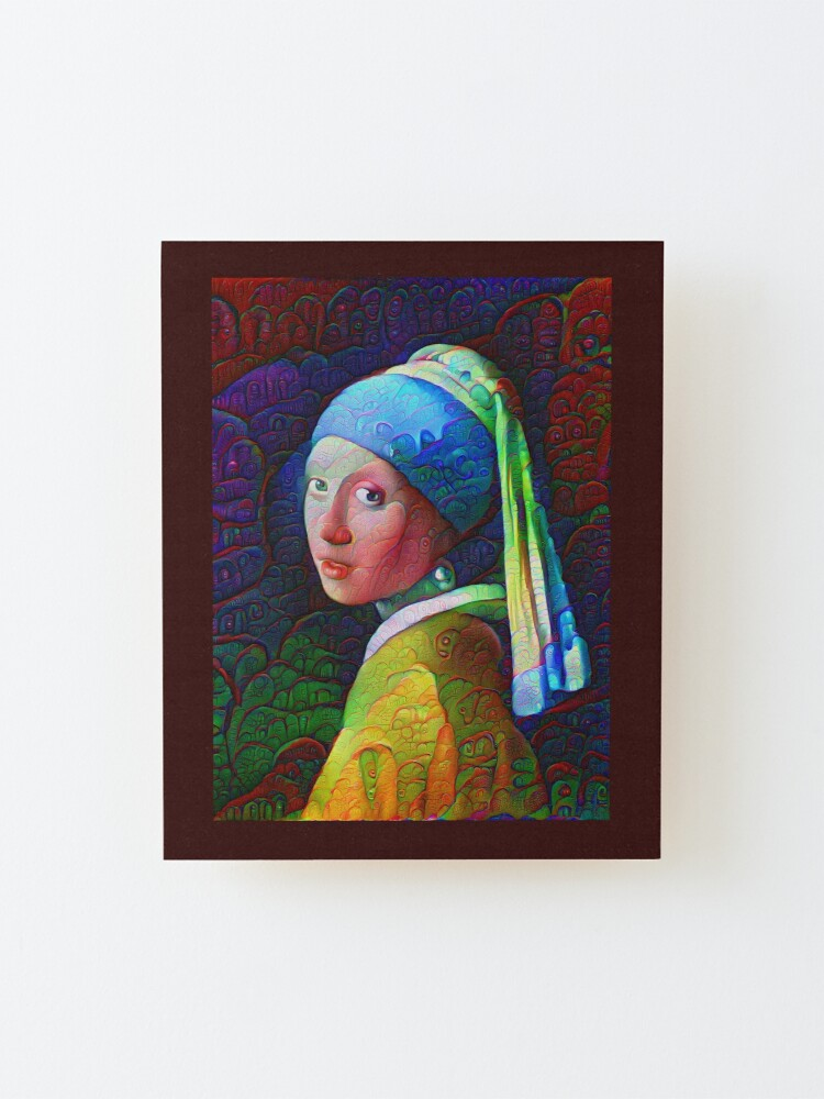 """Alternate view of DeepDreamed """"Girl with a Pearl Earring"""" Mounted Print"""