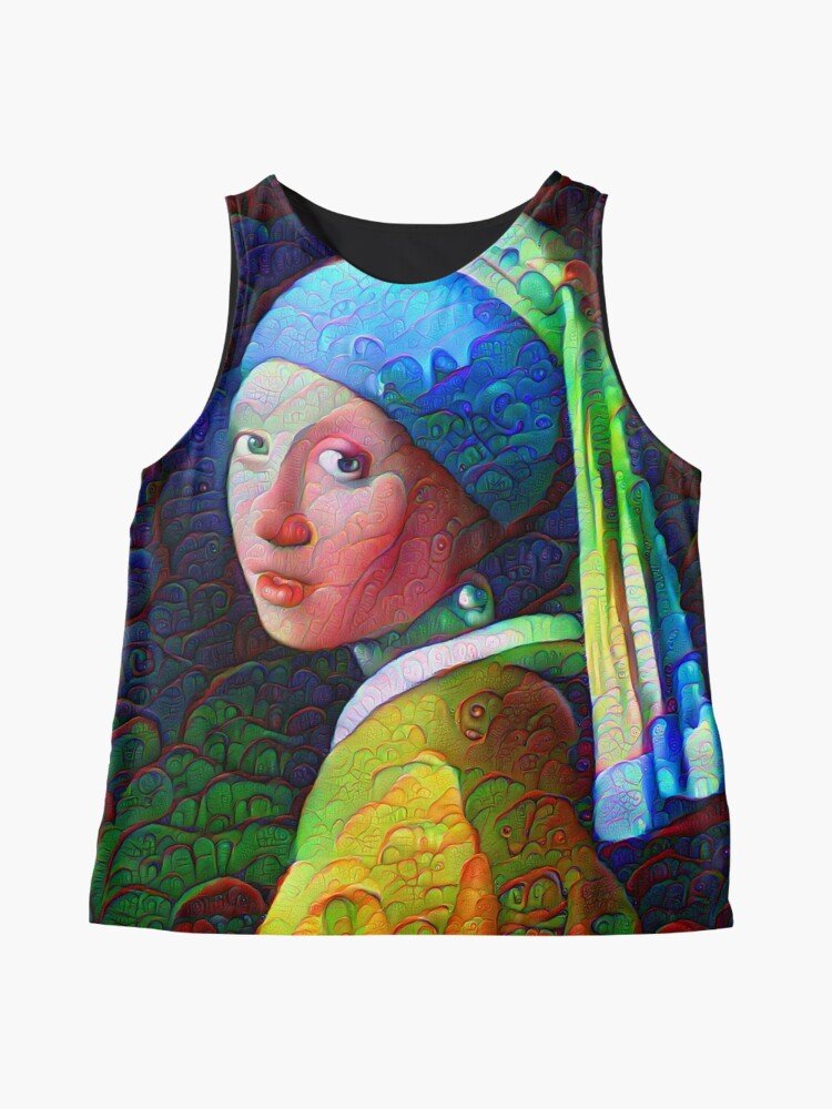 """Alternate view of DeepDreamed """"Girl with a Pearl Earring"""" Sleeveless Top"""