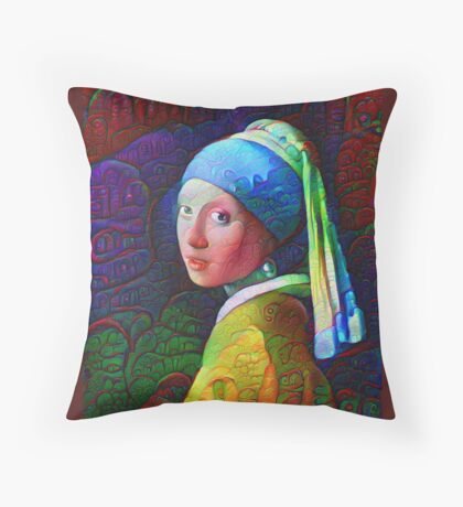 """DeepDreamed """"Girl with a Pearl Earring"""" Floor Pillow"""