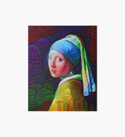 "DeepDreamed ""Girl with a Pearl Earring"" Art Board Print"