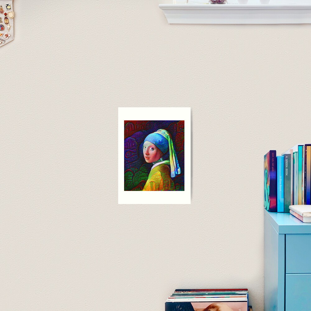 "DeepDreamed ""Girl with a Pearl Earring"" Art Print"