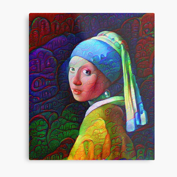 """DeepDreamed """"Girl with a Pearl Earring"""" Metal Print"""