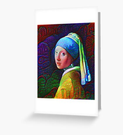 "DeepDreamed ""Girl with a Pearl Earring"" Greeting Card"