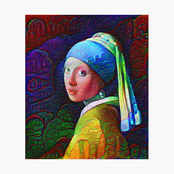 "DeepDreamed ""Girl with a Pearl Earring"" Photographic Print"