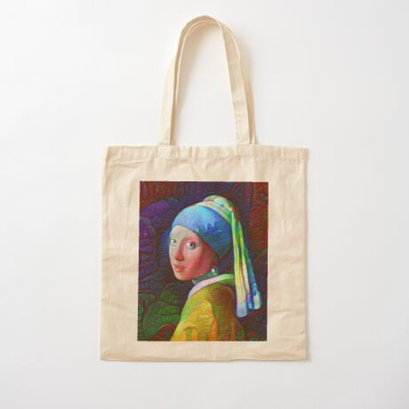"""DeepDreamed """"Girl with a Pearl Earring"""" Cotton Tote Bag"""