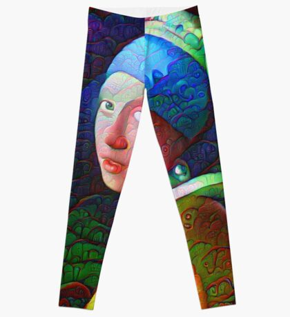 "DeepDreamed ""Girl with a Pearl Earring"" Leggings"
