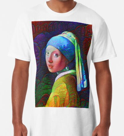 """DeepDreamed """"Girl with a Pearl Earring"""" Long T-Shirt"""