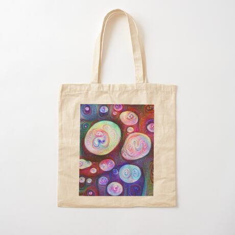 #DeepDream bubbles on frozen lake 5x5K v1450615886 Cotton Tote Bag
