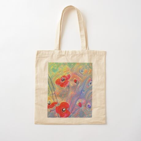 #Deepdreamed Poppies Cotton Tote Bag