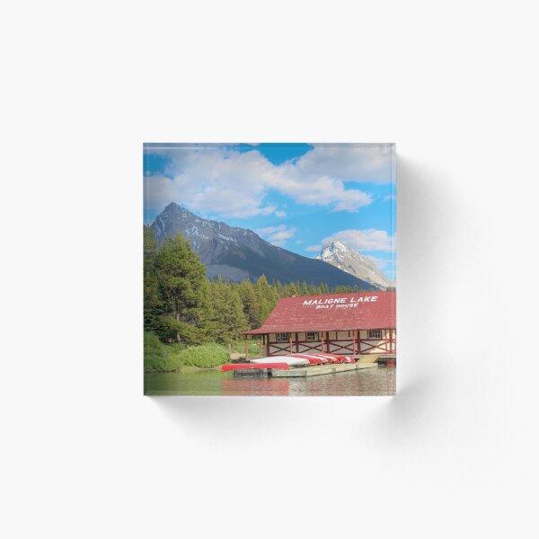 Maligne Lake in Banff Alberta Canada Acrylic Block