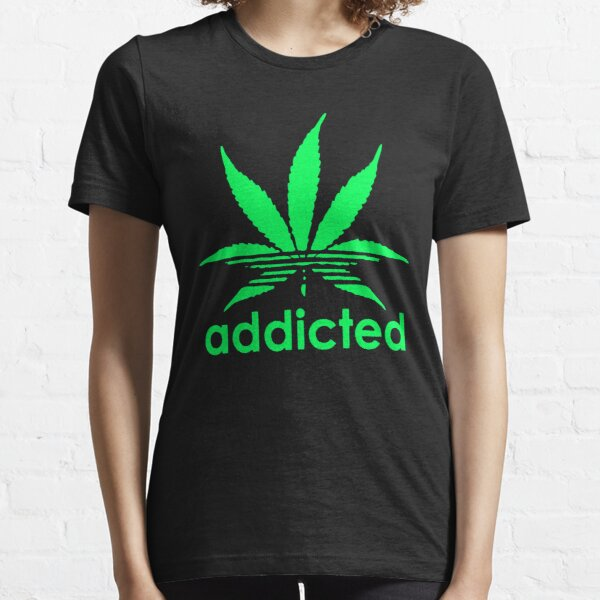 Cannabis Mens T Shirt Black White Funny Weed Addicted Swag