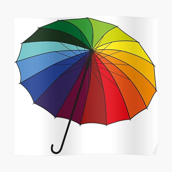 Rainbow Umbrella Poster