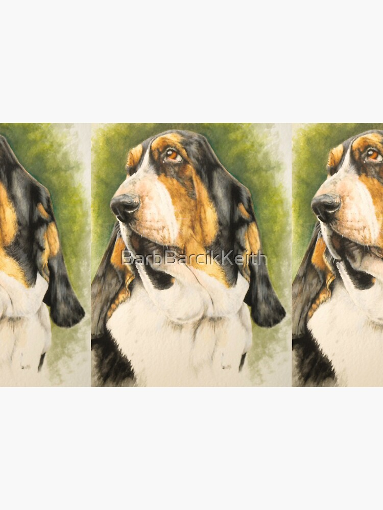 Basset Hound Portrait in Color by BarbBarcikKeith