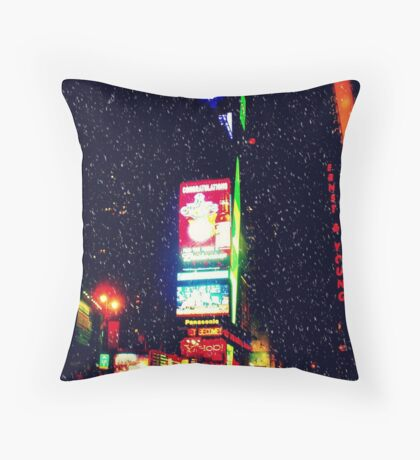 Times Square in Winter Throw Pillow