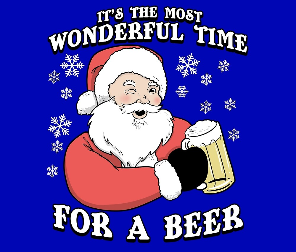 It's The Most Wonderful Time For A Beer | Vintage Santa by Kittyworks
