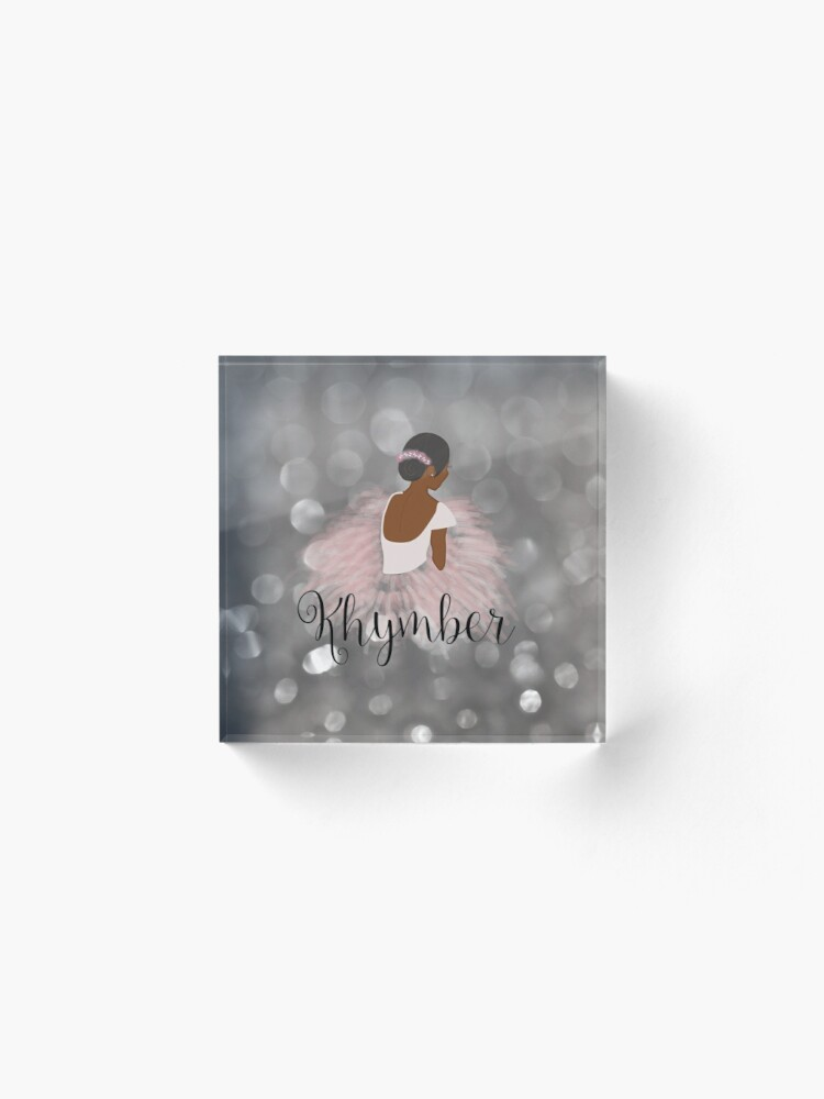 Alternate view of Khymber Personalized African American Dancer Ballerina Acrylic Block