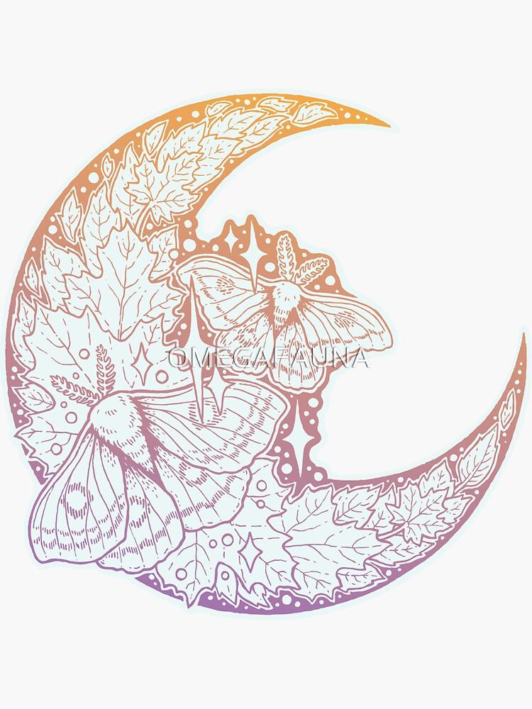 Moth & Moon | Pastel Moonrise Palette | Nature Art by OMEGAFAUNA