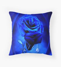 PHOTOSHOP BLUE ROSE VERSION TWO..TEARS OF A BLUE ROSE-PILLOW-JOURNAL,PICTURE-ECT.ECT.. Throw Pillow