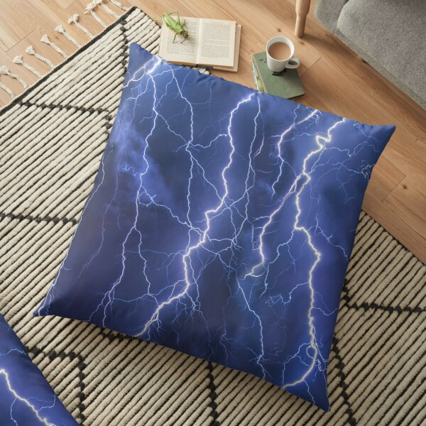 Dazzling blue lightning Floor Pillow