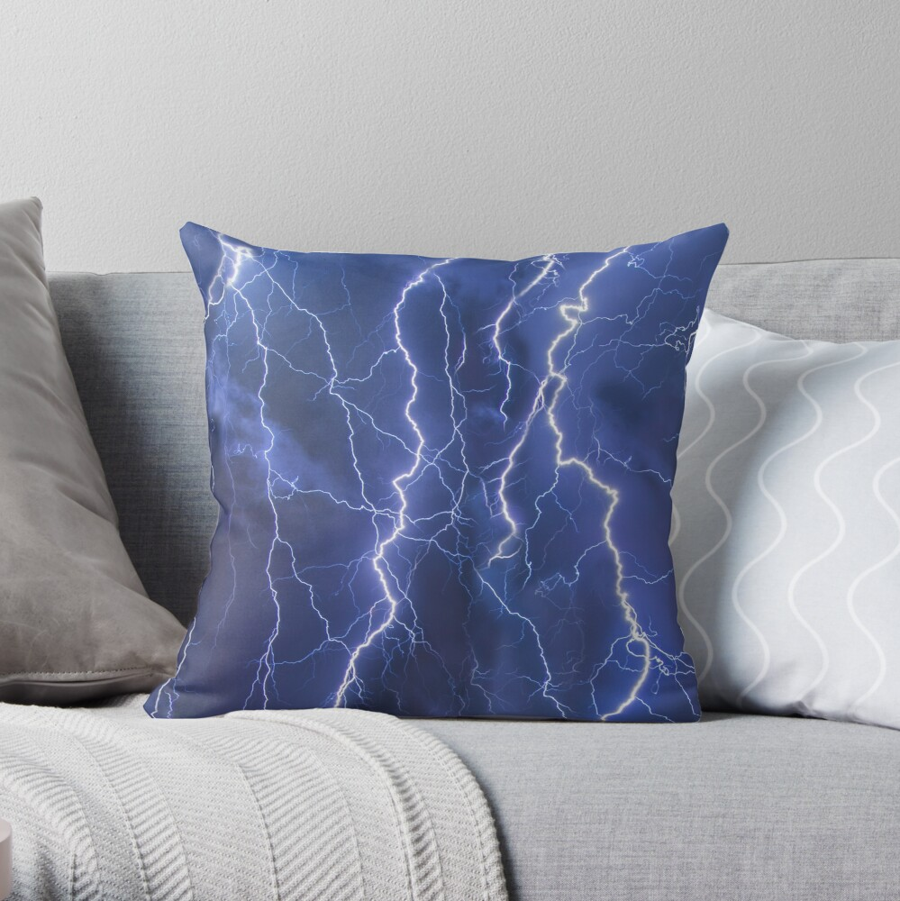 Dazzling blue lightning Throw Pillow