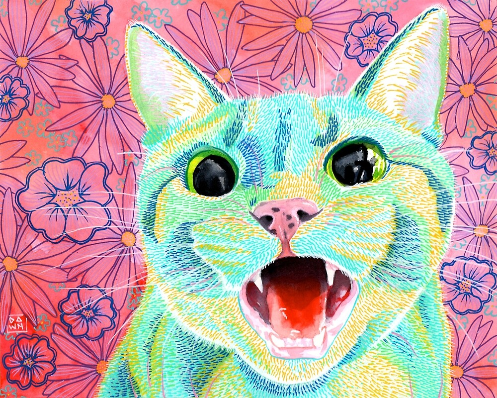 Colorful green and yellow tabby cat painting in an energetic pop art style with pink floral background by Dawn Pedersen