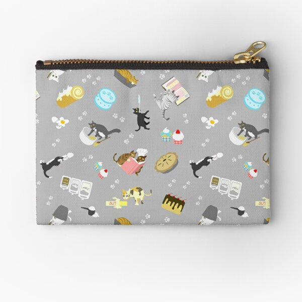 Cats Baking Cakes and other Sweets, in Grey Zipper Pouch