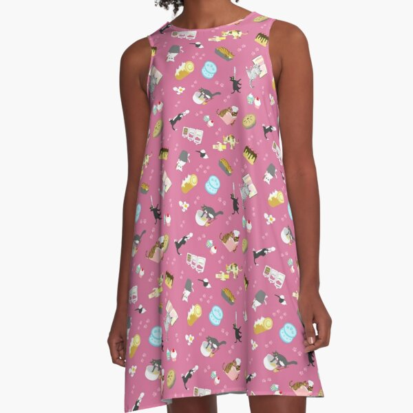 Cats Baking Cakes and other Sweets, in Pink A-Line Dress