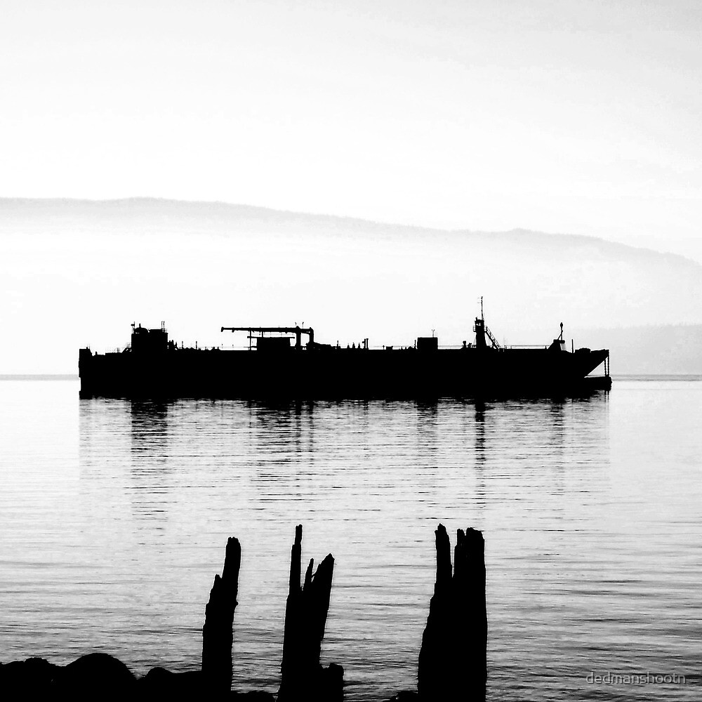 high contrast foggy bay barge by dedmanshootn