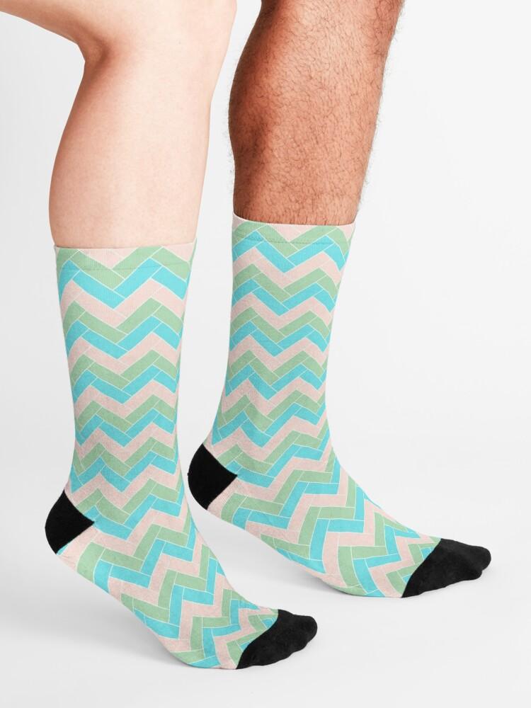 Alternate view of Geometric Pattern: Herringbone: Spring Socks