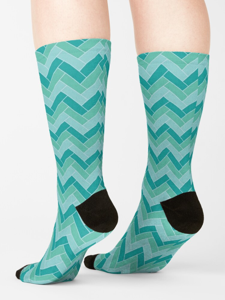 Alternate view of Geometric Pattern: Herringbone: Moss Socks