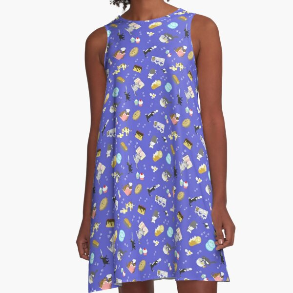 Cats Baking Cakes and other Sweets, in Blue A-Line Dress