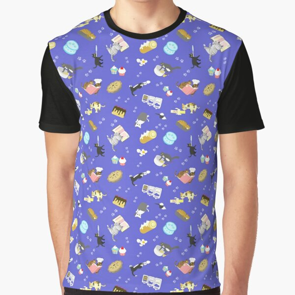 Cats Baking Cakes and other Sweets, in Blue Graphic T-Shirt