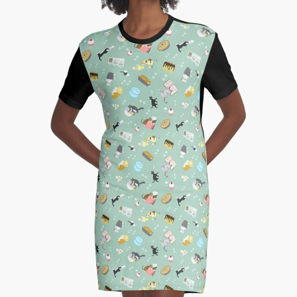 Cats Baking Cakes and other Sweets Graphic T-Shirt Dress