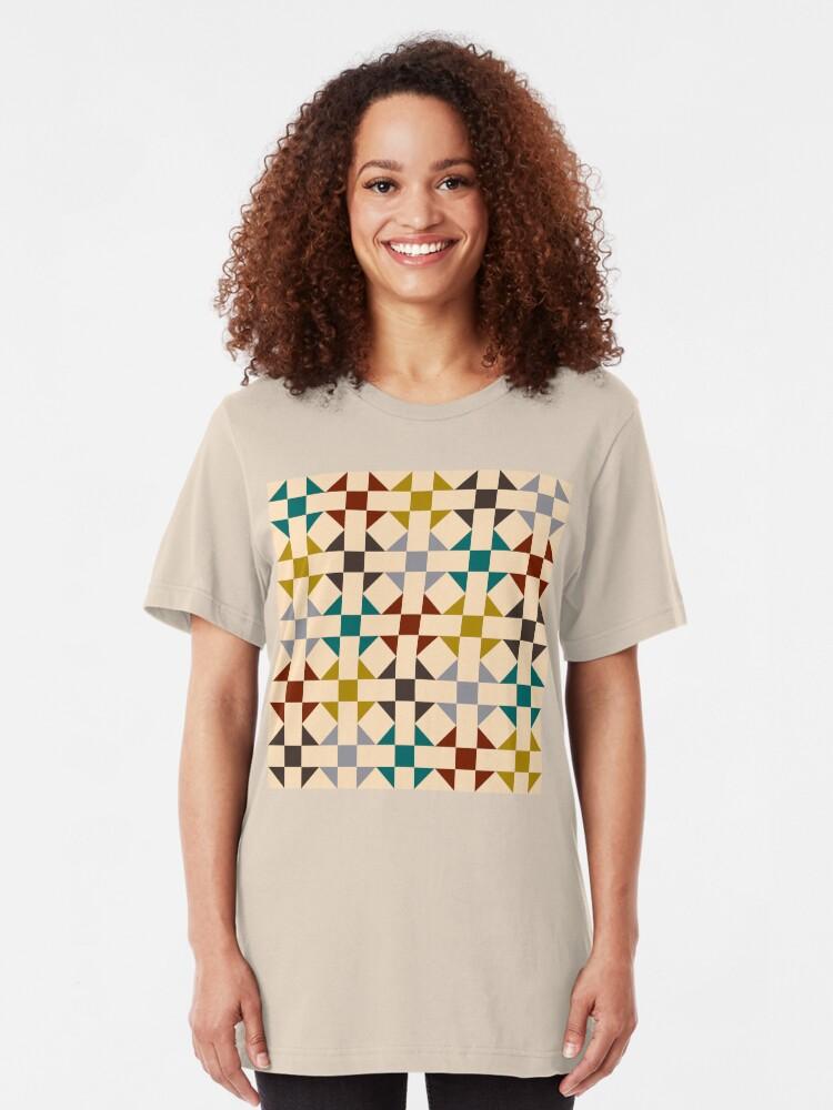 Alternate view of Geometric Pattern: Quilt: Autumn Slim Fit T-Shirt