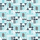 Ray Sky (A mid-century inspired geometric pattern) by Liz Taylor