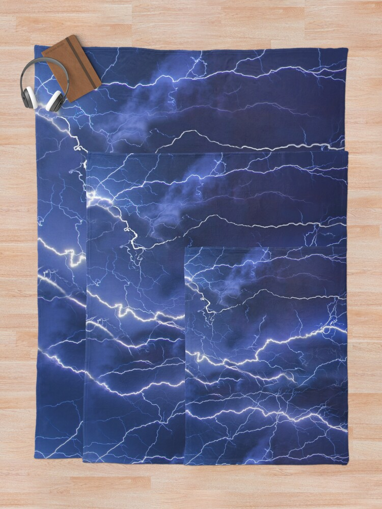 Alternate view of Dazzling blue lightning Throw Blanket