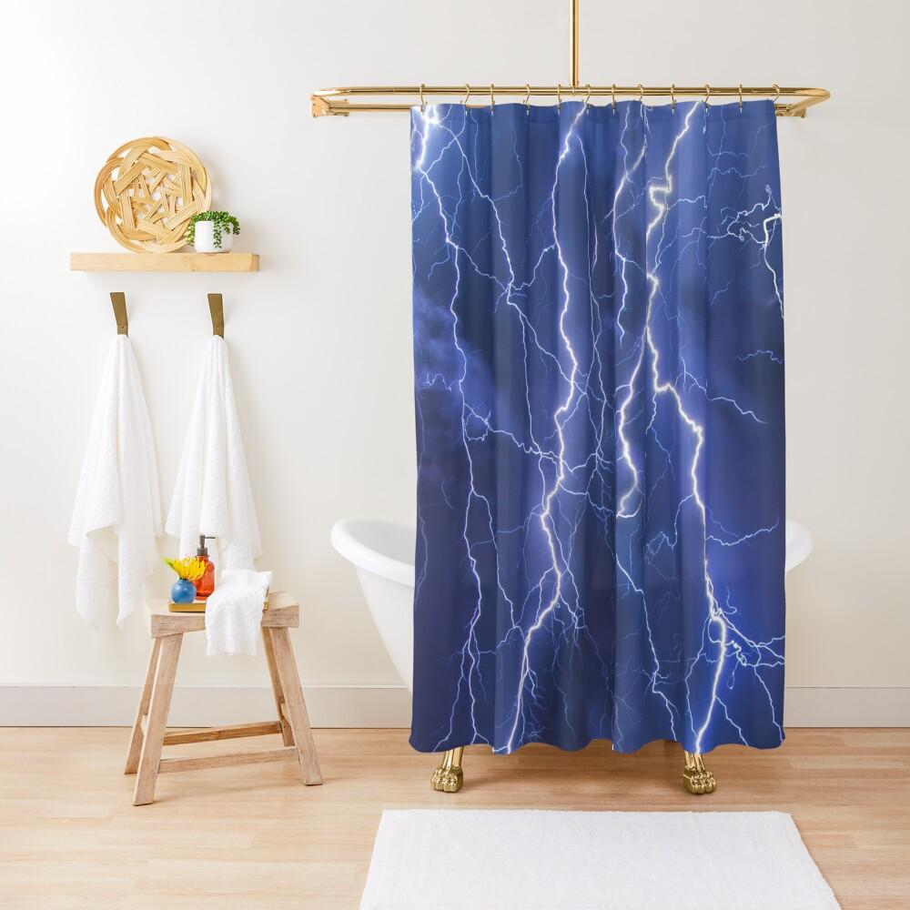 Dazzling blue lightning Shower Curtain